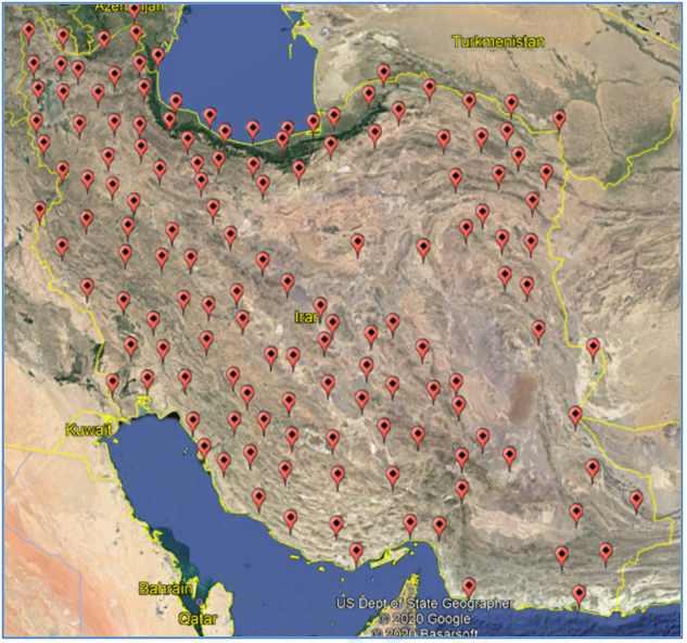 شکل 2: پوشش ایستگاههای مرجع دائمی GNSS سامانه شمیم در سطح کشور