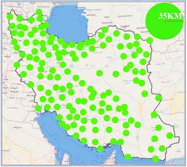 شکل 5: وضعیت پوشش ایستگاههای سامانه شمیم تا شعاع 35 کیلومتری